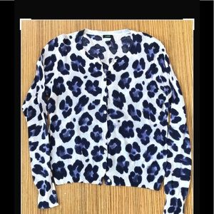J CREW Cardigan Leopard Animal Print Sweater